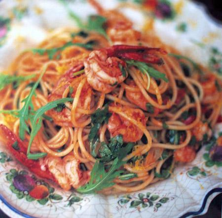 Spaghetti Con Gamberetti E Rucola Spaghetti Mit Garnelen Und